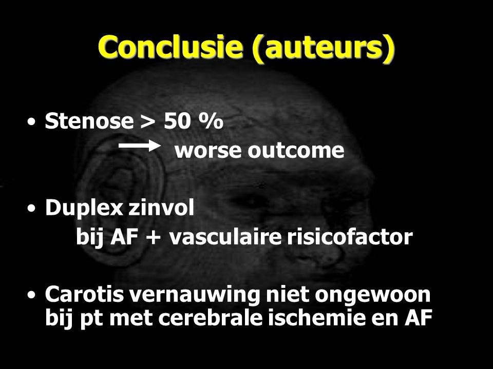 Conclusie (auteurs) Stenose > 50 % worse outcome Duplex zinvol