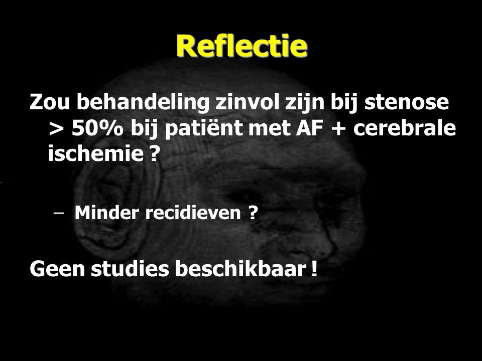 Reflectie Zou behandeling zinvol zijn bij stenose > 50% bij patiënt met AF + cerebrale ischemie Minder recidieven