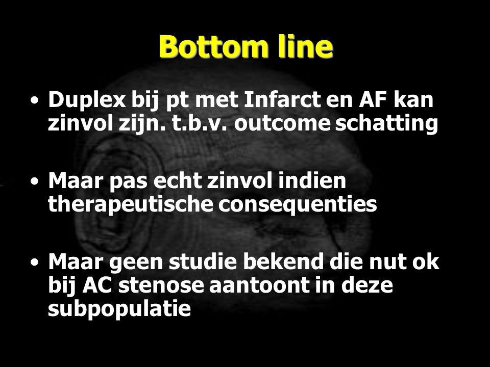 Bottom line Duplex bij pt met Infarct en AF kan zinvol zijn. t.b.v. outcome schatting. Maar pas echt zinvol indien therapeutische consequenties.