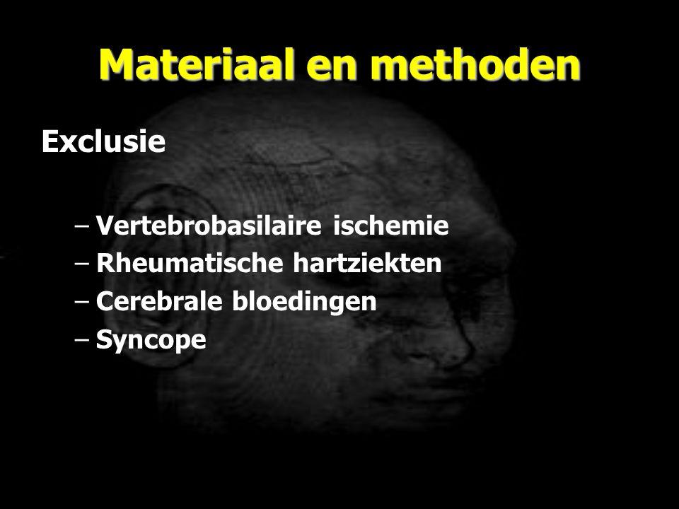 Materiaal en methoden Exclusie Vertebrobasilaire ischemie