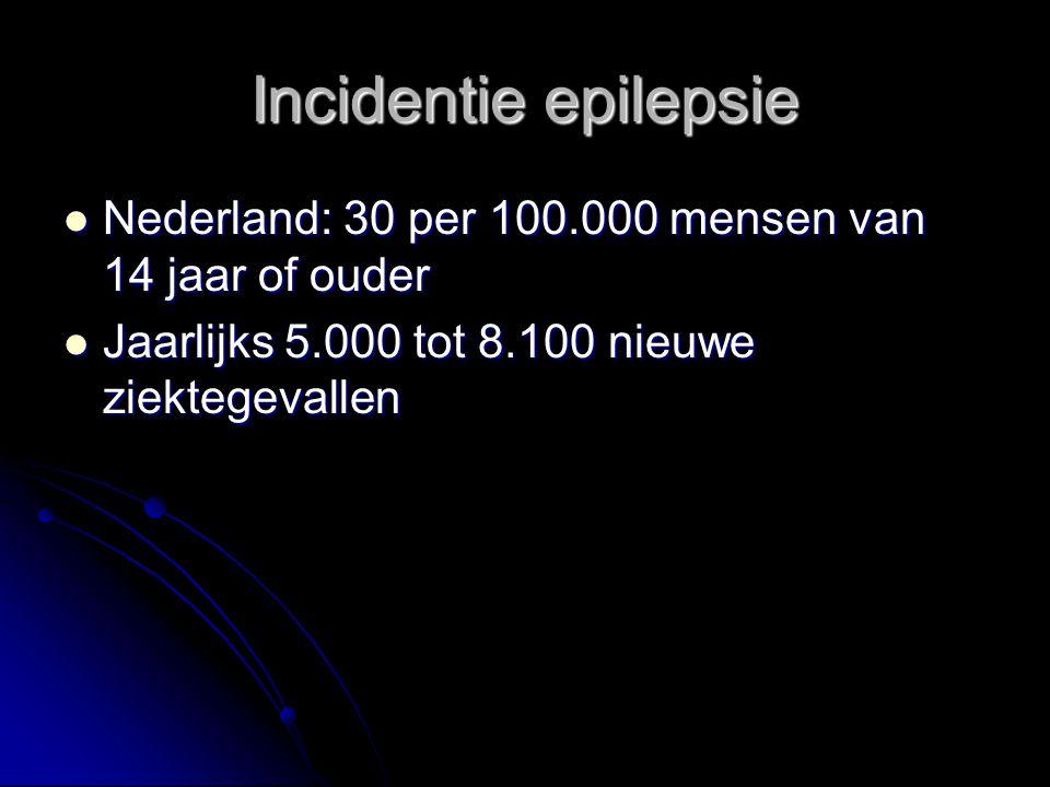 Incidentie epilepsie Nederland: 30 per 100.000 mensen van 14 jaar of ouder.
