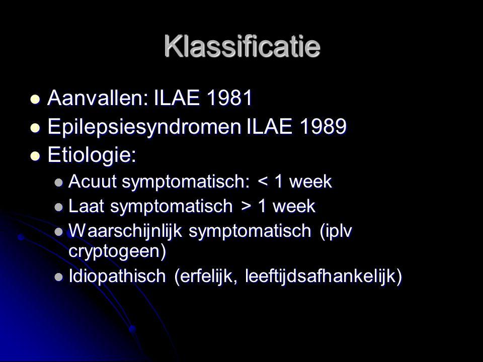 Klassificatie Aanvallen: ILAE 1981 Epilepsiesyndromen ILAE 1989