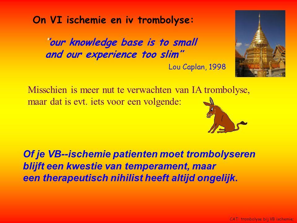 On VI ischemie en iv trombolyse: