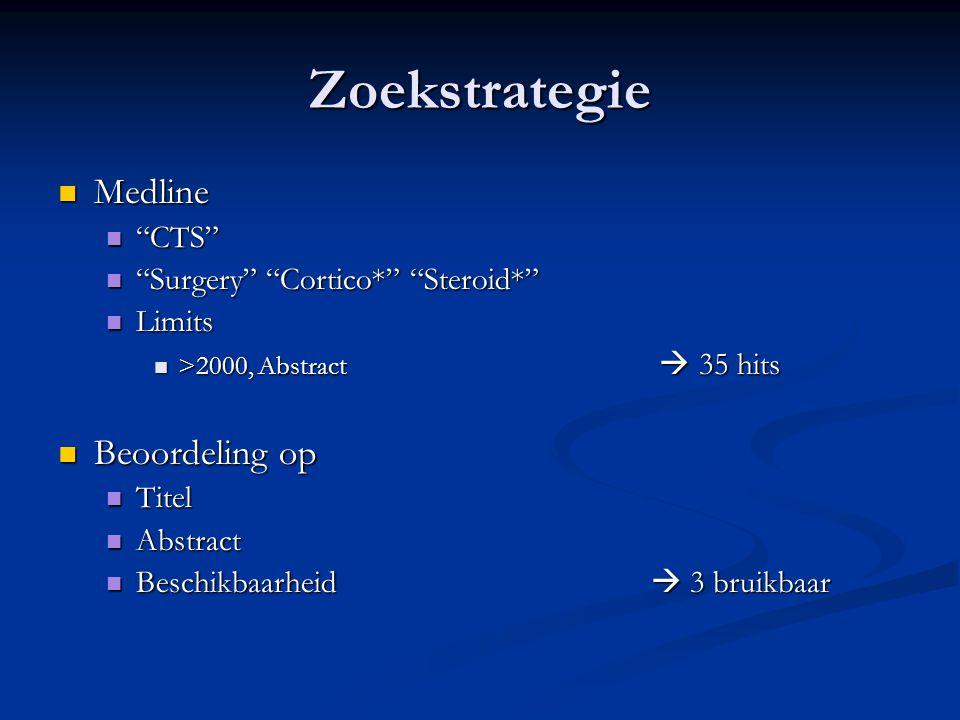 Zoekstrategie Medline Beoordeling op CTS