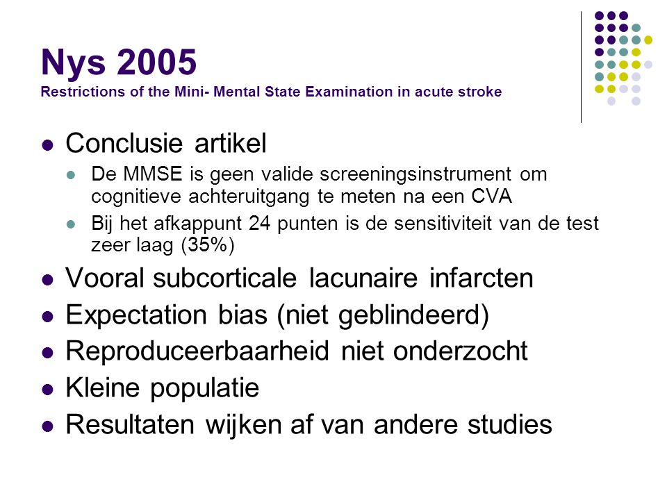 Nys 2005 Restrictions of the Mini- Mental State Examination in acute stroke