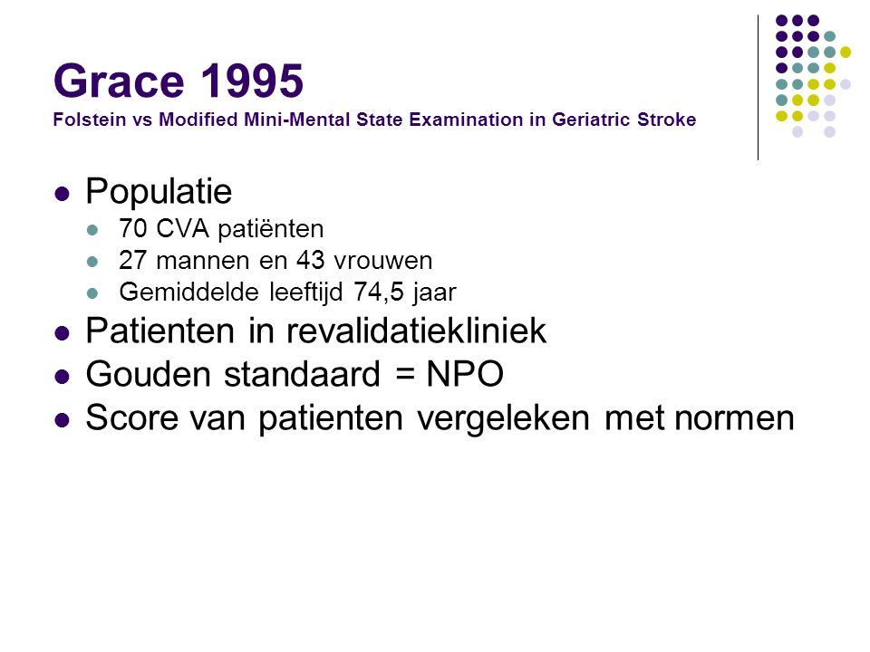 Grace 1995 Folstein vs Modified Mini-Mental State Examination in Geriatric Stroke