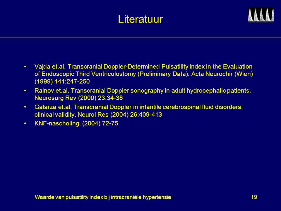 Waarde van pulsatility index bij intracraniële hypertensie