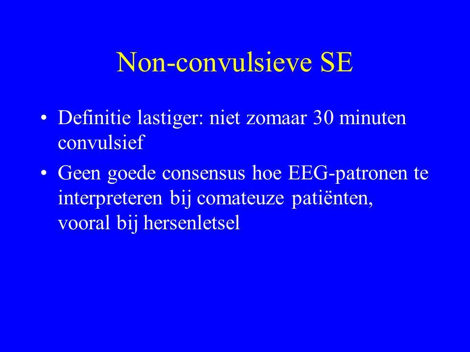 Non-convulsieve SE Definitie lastiger: niet zomaar 30 minuten convulsief.