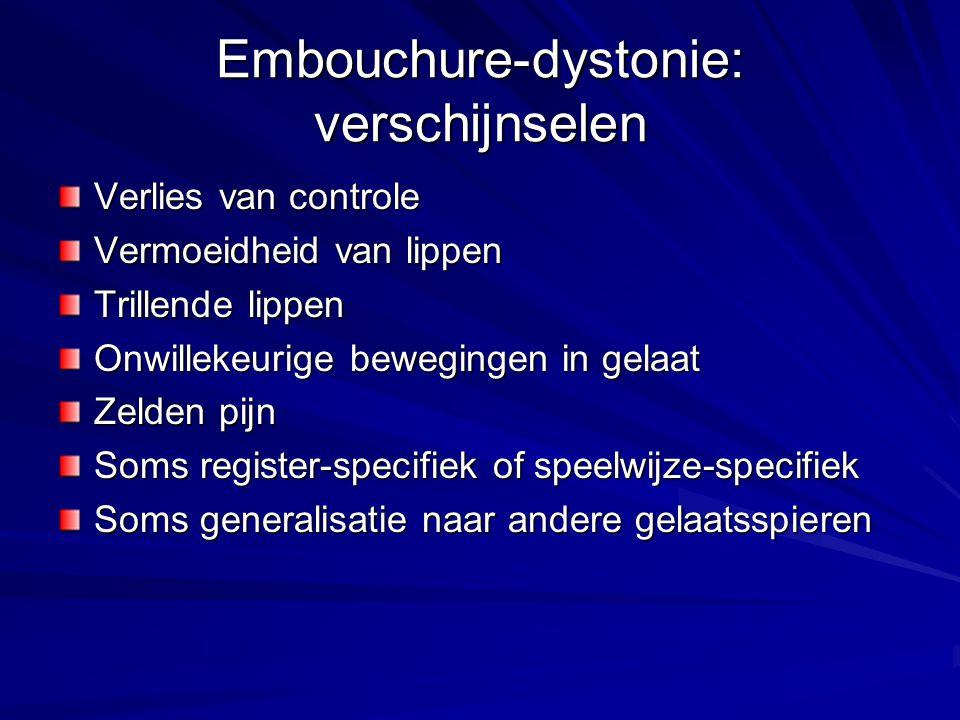 Embouchure-dystonie: verschijnselen