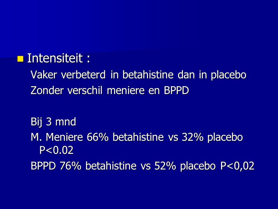 Intensiteit : Vaker verbeterd in betahistine dan in placebo