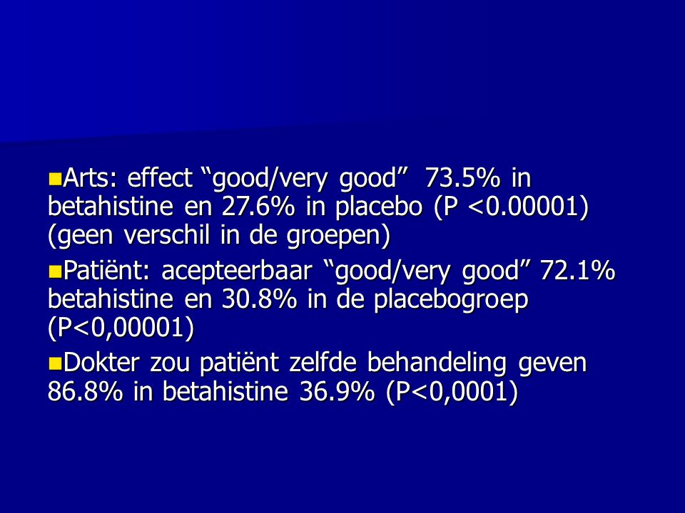 Arts: effect good/very good 73. 5% in betahistine en 27