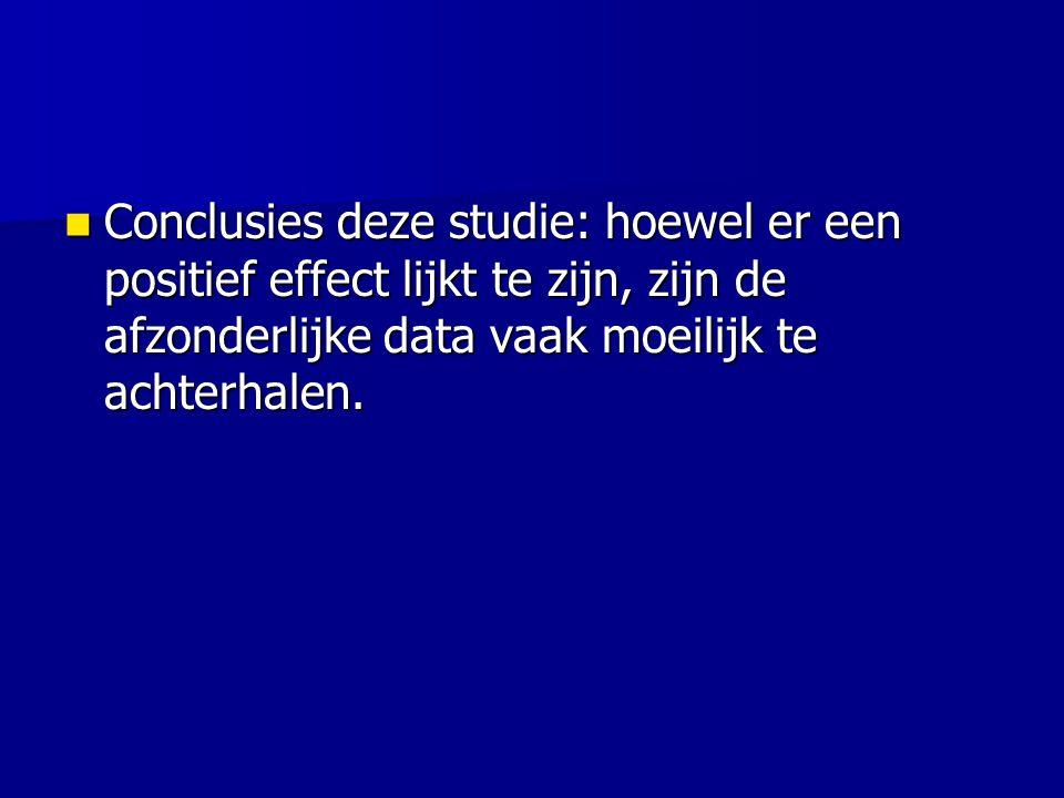 Conclusies deze studie: hoewel er een positief effect lijkt te zijn, zijn de afzonderlijke data vaak moeilijk te achterhalen.