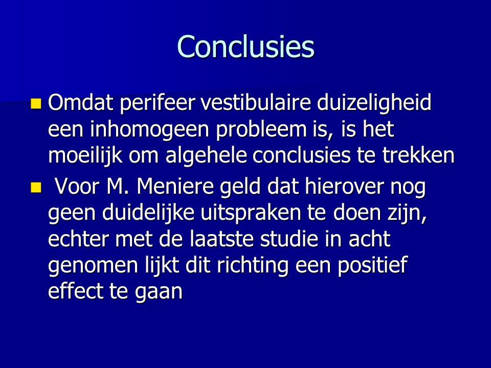 Conclusies Omdat perifeer vestibulaire duizeligheid een inhomogeen probleem is, is het moeilijk om algehele conclusies te trekken.