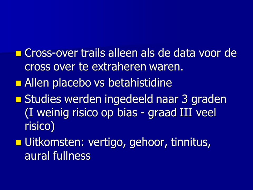 Cross-over trails alleen als de data voor de cross over te extraheren waren.