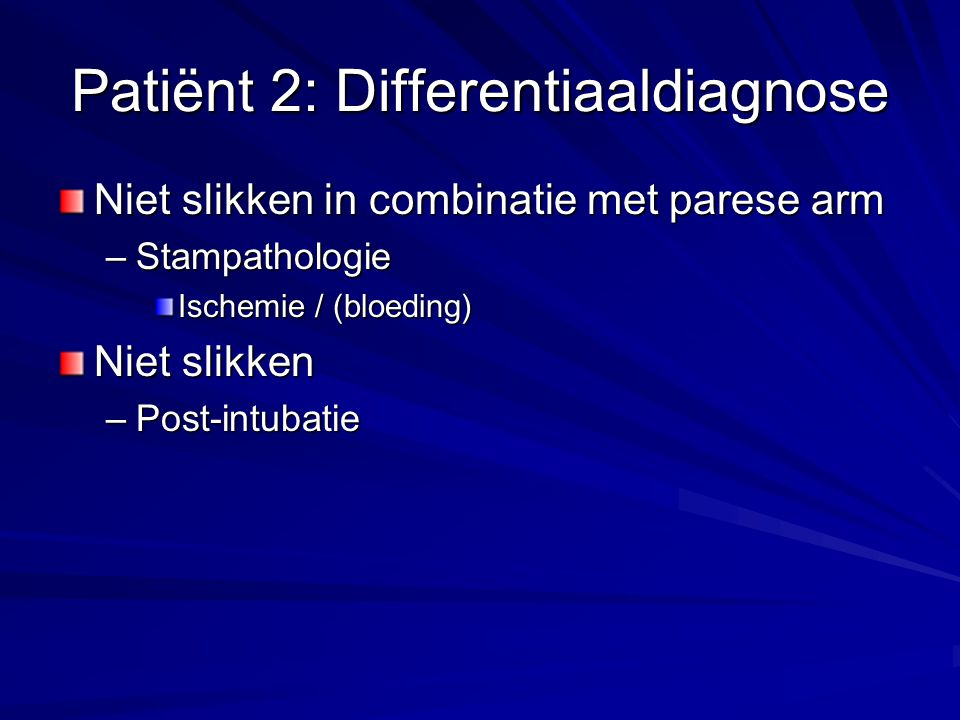 Patiënt 2: Differentiaaldiagnose