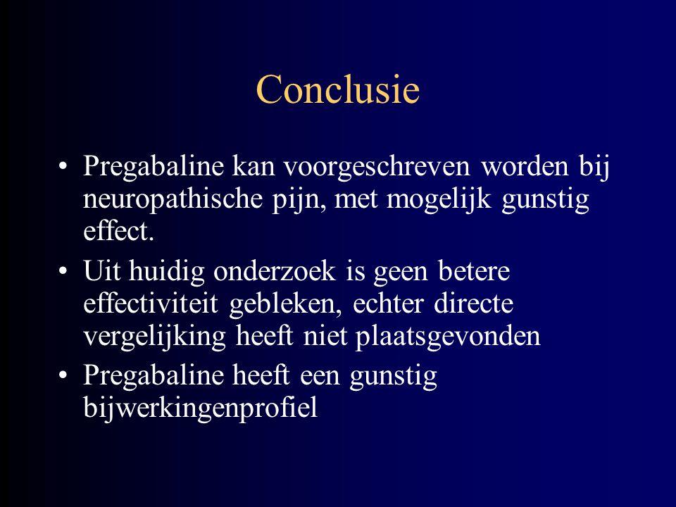 Conclusie Pregabaline kan voorgeschreven worden bij neuropathische pijn, met mogelijk gunstig effect.