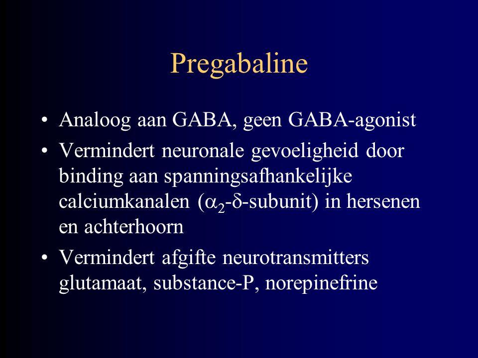 Pregabaline Analoog aan GABA, geen GABA-agonist