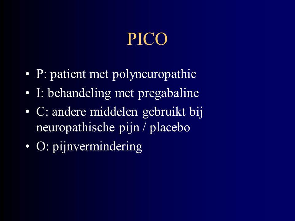 PICO P: patient met polyneuropathie I: behandeling met pregabaline