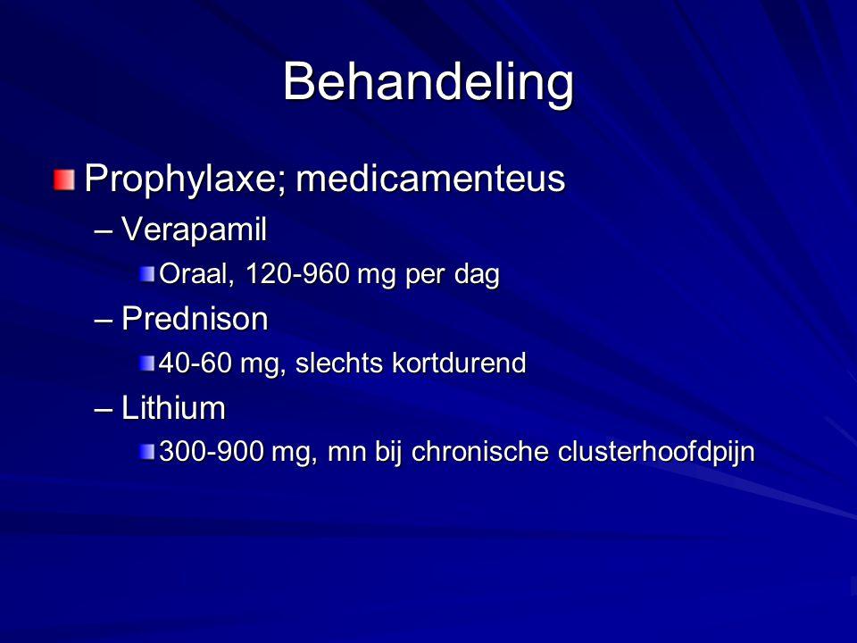 Behandeling Prophylaxe; medicamenteus Verapamil Prednison Lithium