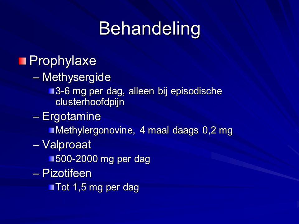 Behandeling Prophylaxe Methysergide Ergotamine Valproaat Pizotifeen