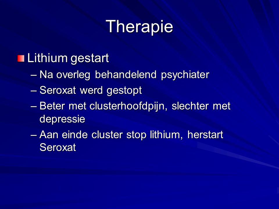 Therapie Lithium gestart Na overleg behandelend psychiater