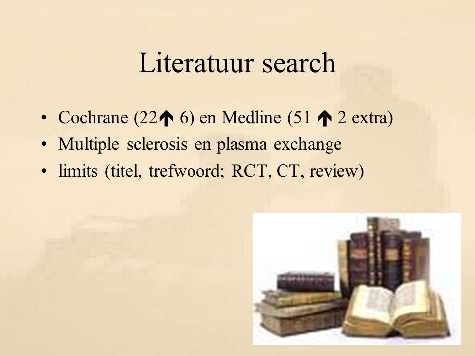Literatuur search Cochrane (22 6) en Medline (51  2 extra)