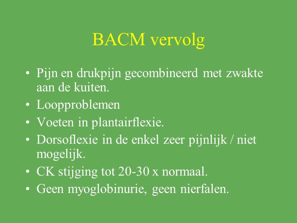 BACM vervolg Pijn en drukpijn gecombineerd met zwakte aan de kuiten.