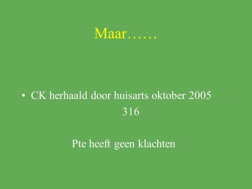 Maar…… CK herhaald door huisarts oktober 2005 316