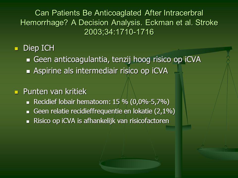 Geen anticoagulantia, tenzij hoog risico op iCVA