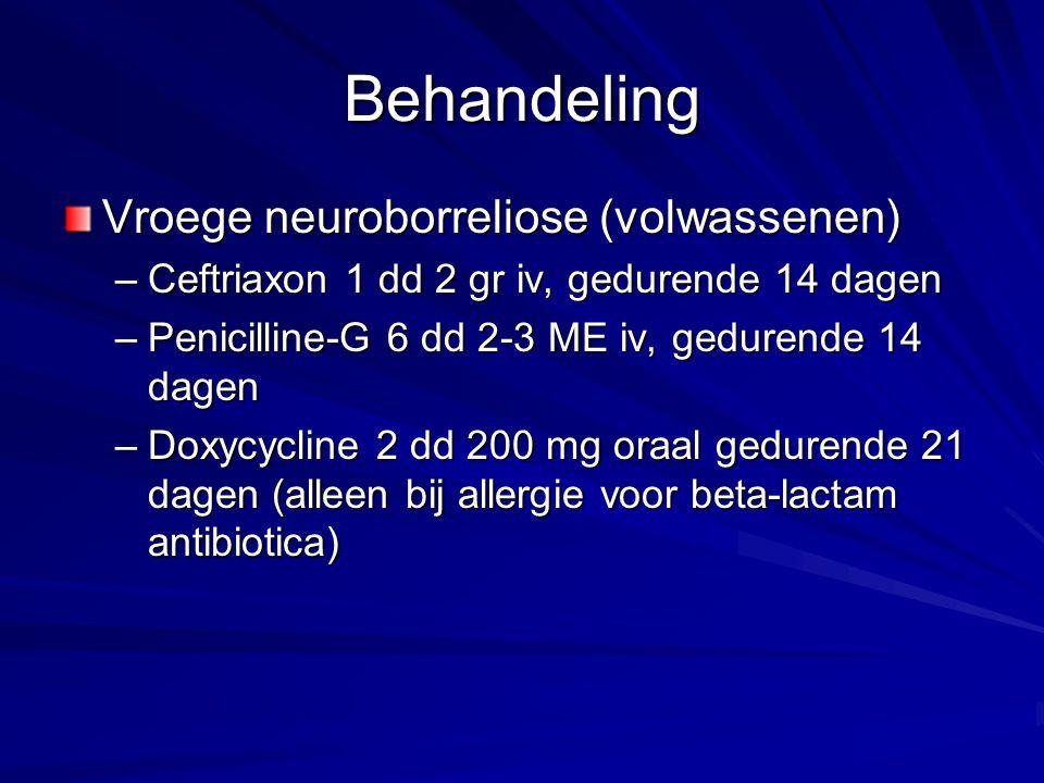 Behandeling Vroege neuroborreliose (volwassenen)