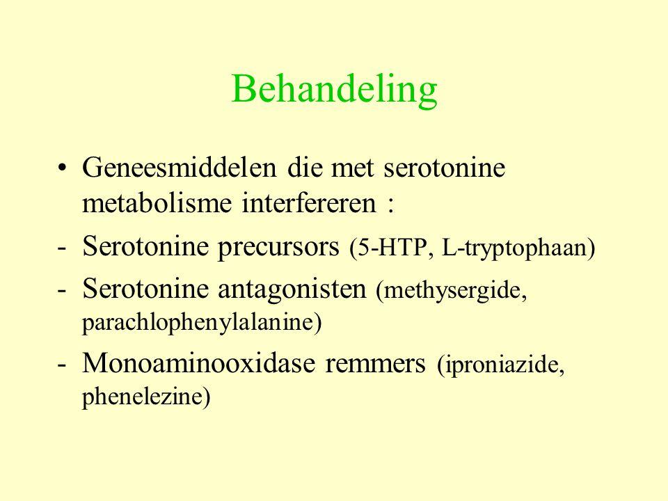 Behandeling Geneesmiddelen die met serotonine metabolisme interfereren : - Serotonine precursors (5-HTP, L-tryptophaan)