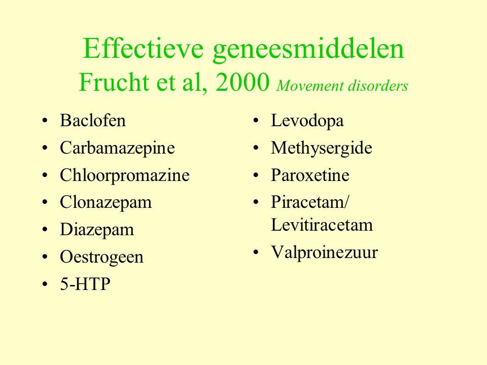Effectieve geneesmiddelen Frucht et al, 2000 Movement disorders