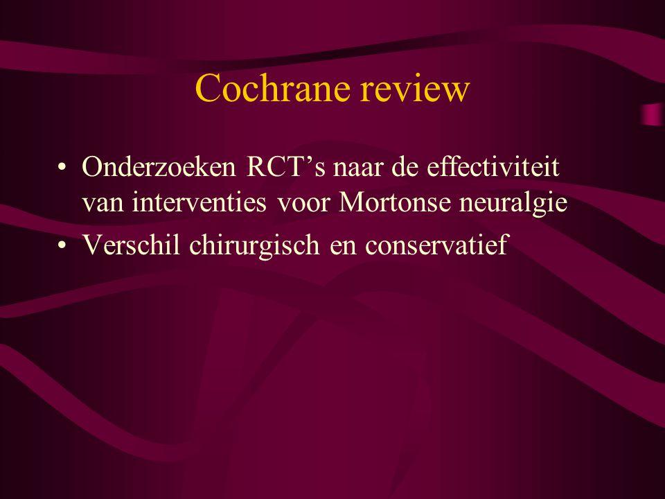Cochrane review Onderzoeken RCT's naar de effectiviteit van interventies voor Mortonse neuralgie.