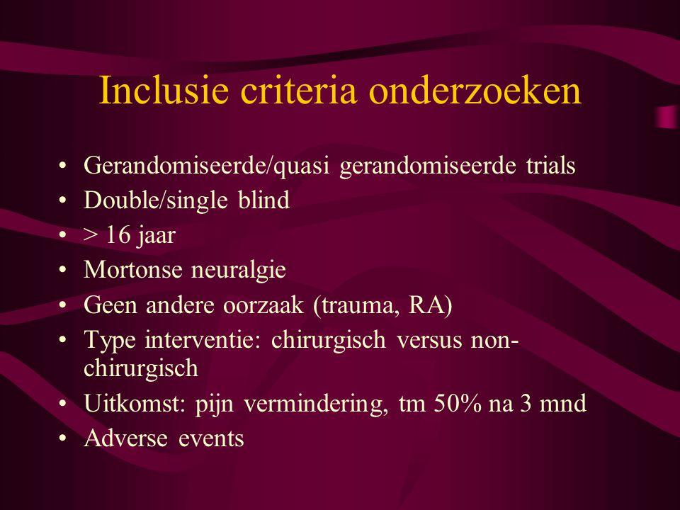 Inclusie criteria onderzoeken