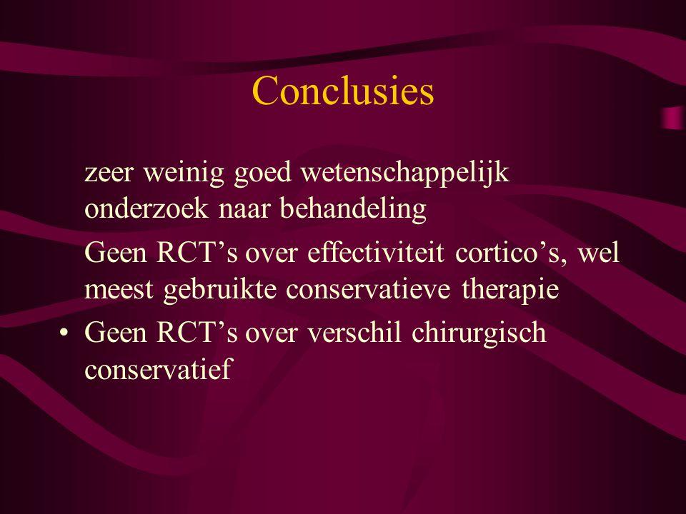 Conclusies zeer weinig goed wetenschappelijk onderzoek naar behandeling.