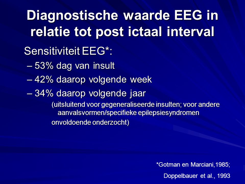 Diagnostische waarde EEG in relatie tot post ictaal interval