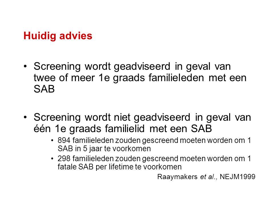 Huidig advies Screening wordt geadviseerd in geval van twee of meer 1e graads familieleden met een SAB.