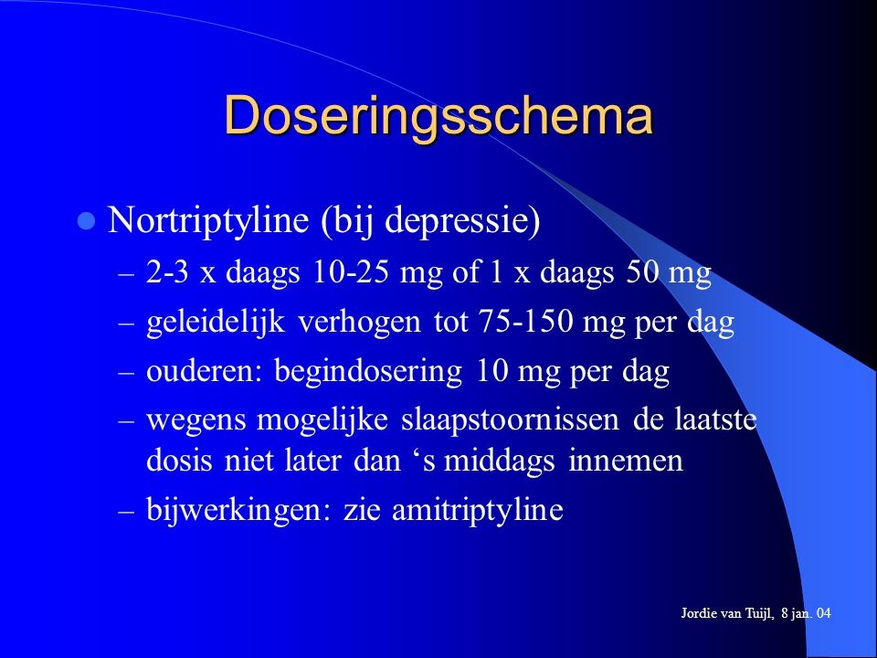 Doseringsschema Nortriptyline (bij depressie)