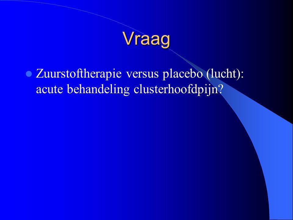 Vraag Zuurstoftherapie versus placebo (lucht): acute behandeling clusterhoofdpijn