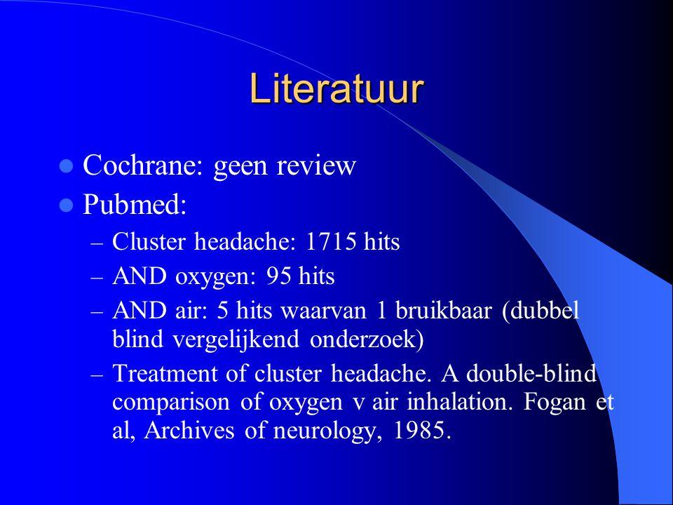Literatuur Cochrane: geen review Pubmed: Cluster headache: 1715 hits