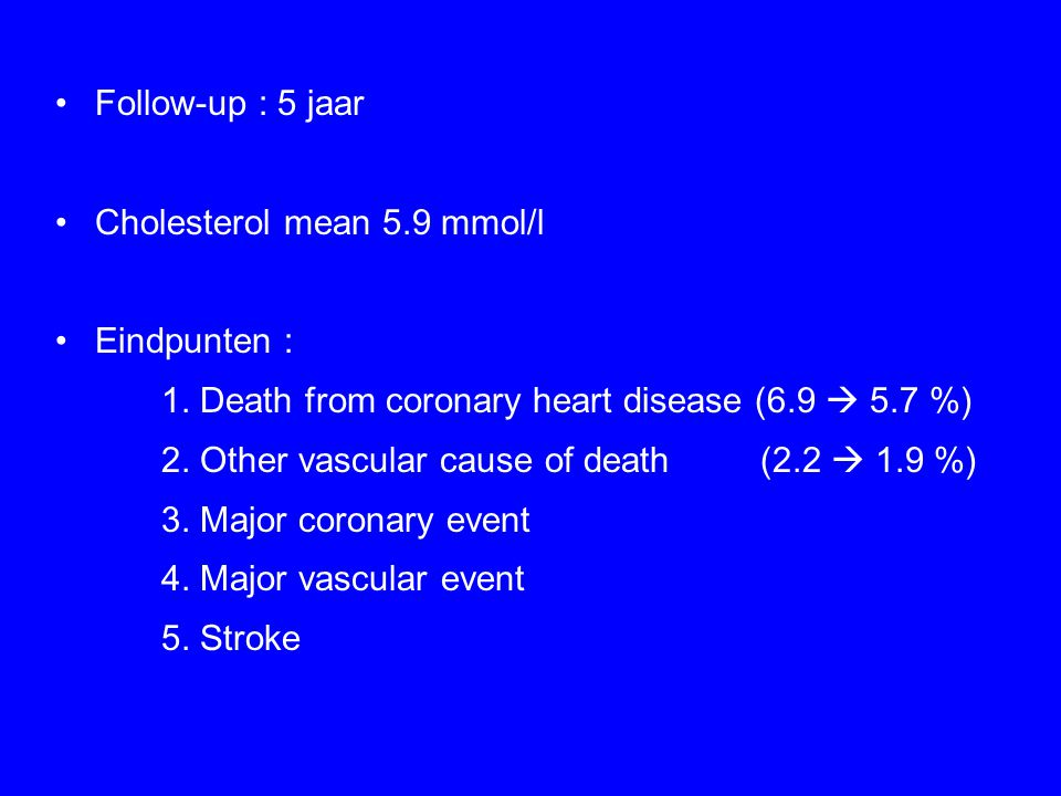 Follow-up : 5 jaar Cholesterol mean 5.9 mmol/l. Eindpunten : 1. Death from coronary heart disease (6.9  5.7 %)