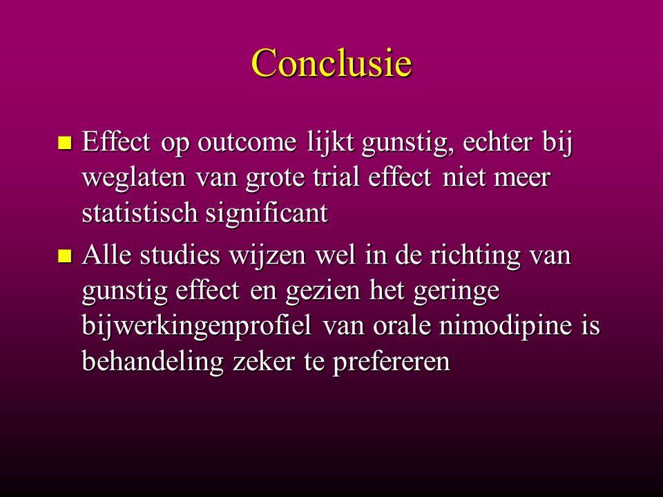 Conclusie Effect op outcome lijkt gunstig, echter bij weglaten van grote trial effect niet meer statistisch significant.