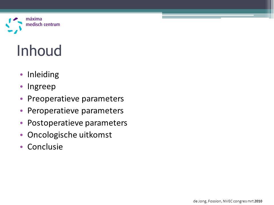 Inhoud Inleiding Ingreep Preoperatieve parameters