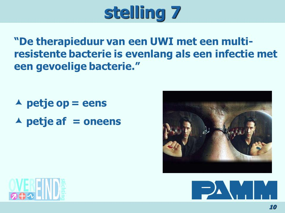 stelling 7 De therapieduur van een UWI met een multi-resistente bacterie is evenlang als een infectie met een gevoelige bacterie.