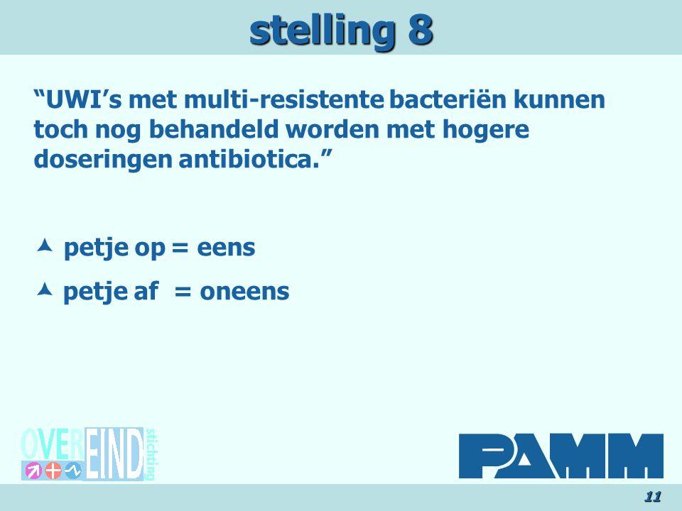 stelling 8 UWI's met multi-resistente bacteriën kunnen toch nog behandeld worden met hogere doseringen antibiotica.