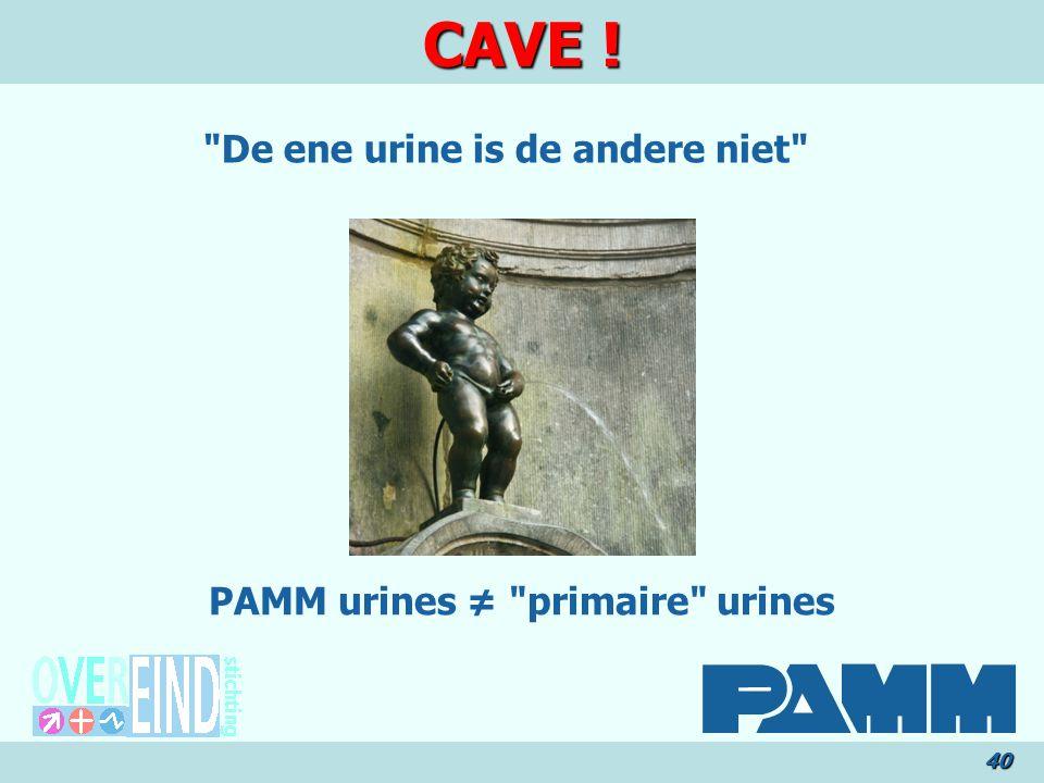 De ene urine is de andere niet PAMM urines ≠ primaire urines