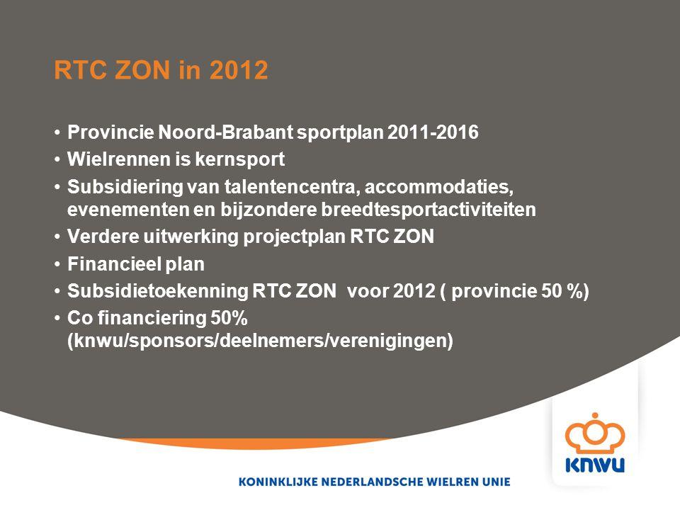 RTC ZON in 2012 Provincie Noord-Brabant sportplan 2011-2016