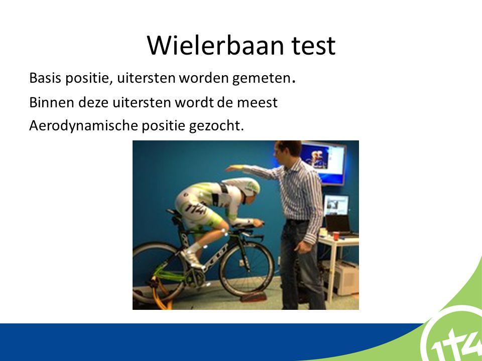 Wielerbaan test Basis positie, uitersten worden gemeten.
