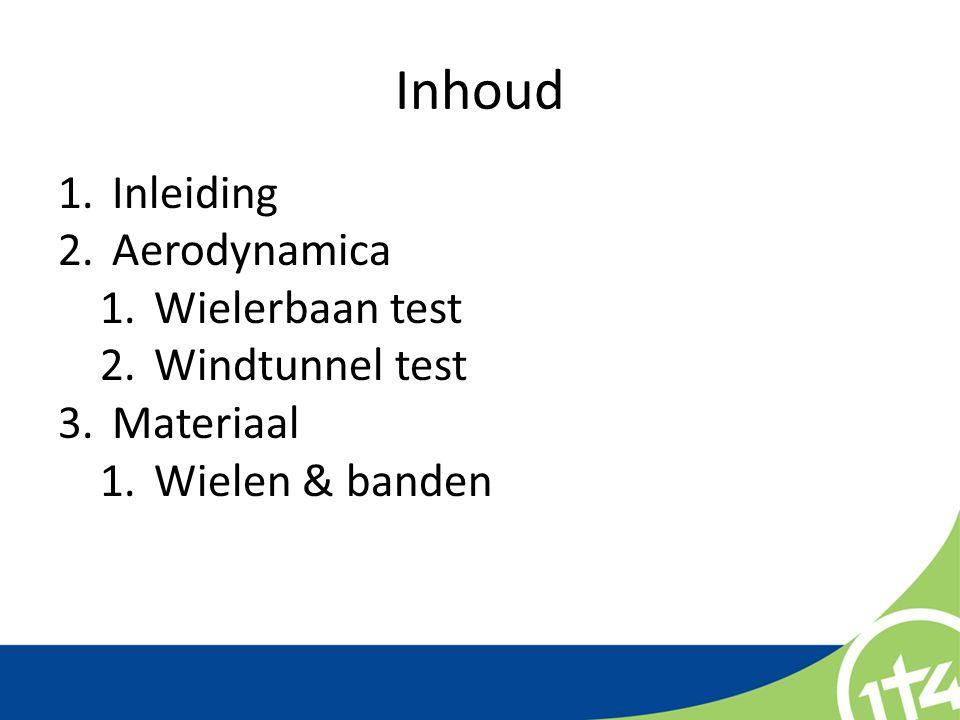 Inhoud Inleiding Aerodynamica Wielerbaan test Windtunnel test