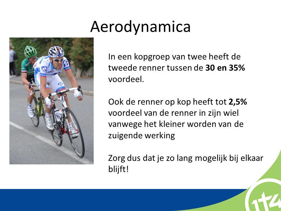 Aerodynamica In een kopgroep van twee heeft de tweede renner tussen de 30 en 35% voordeel.